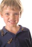 所有男孩他在宠物的小的蜥蜴 库存照片