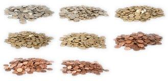 所有铸造欧元堆货币 免版税图库摄影