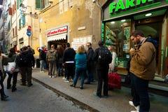 所有` Antico Vinaio在佛罗伦萨,意大利 免版税库存照片