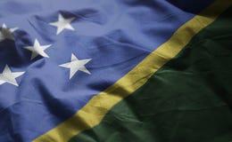 所罗门群岛旗子起皱了接近  库存照片