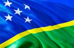 所罗门群岛标志 3D挥动的旗子设计 所罗门群岛的国家标志,3D翻译 全国颜色和全国 库存图片