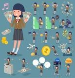 扁平式学校女孩布朗Blazer_money 免版税库存图片