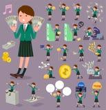 扁平式学校女孩绿色Blazer_money 免版税库存图片
