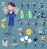 扁平式客舱服务员蓝色woman_money 免版税库存照片