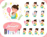 扁平式母亲和baby_beauty 库存例证