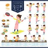 扁平式母亲和baby_cooking 皇族释放例证
