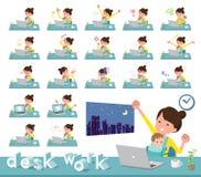 扁平式母亲和baby_desk工作 向量例证
