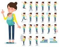 扁平式母亲和baby_emotion 向量例证