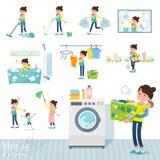 扁平式母亲和baby_housekeeping 向量例证