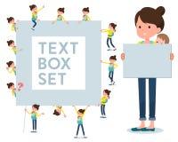 扁平式母亲和baby_text箱子 库存例证