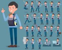 扁平式爸爸和baby_1 向量例证