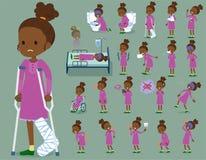 扁平式电烫头发女孩black_sickness 库存例证