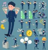 扁平式男生gakuran_money 向量例证