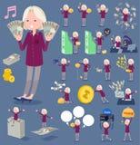 扁平式紫色衬衣老妇人White_money 免版税图库摄影