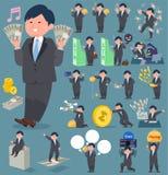 扁平式肥胖businessman_money 向量例证