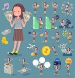 扁平式长的头发women_money 免版税图库摄影
