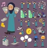 扁平式阿拉伯老women_money 库存图片