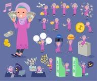 扁平式阿拉伯girl_money 库存照片
