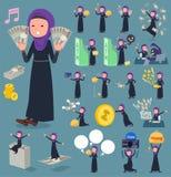 扁平式阿拉伯woman_money 免版税库存照片