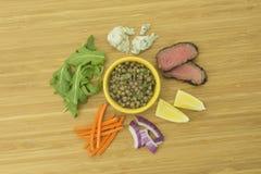 扁豆、牛排、红萝卜、红洋葱、柠檬、芝麻菜和青斑乳酪 图库摄影