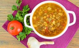 扁豆汤用茄子、蕃茄和葱 免版税库存图片