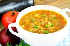 扁豆汤用茄子、蕃茄和葱 免版税库存照片