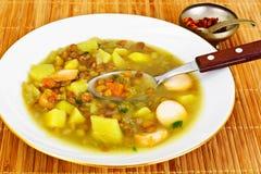 扁豆汤用香肠 免版税库存图片