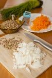扁豆汤的裁减葱 免版税库存图片
