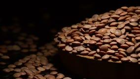 扁豆豆类山在回旋在黑背景的板材的 股票视频