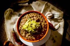 扁豆-在碗的扁豆炖煮的食物在桌特写镜头 库存照片