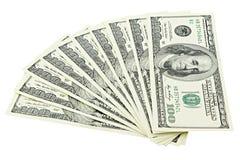 扇动美国金钱在白色背景裁减路线隔绝的一百元钞票 堆美国100钞票 免版税库存图片