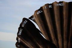 扇贝,由萨福克艺术家Maggi Hambling 免版税库存照片