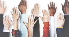 手一起加入合作团结变异队概念 库存照片
