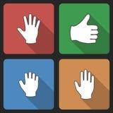 手与长的阴影的集合Icins 免版税库存图片