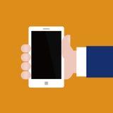 手中传染媒介的智能手机 免版税库存照片