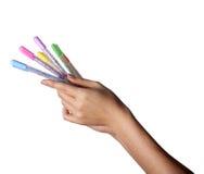 手中色的笔被设置 免版税库存照片