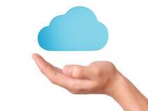 手举行云彩计算的标志 免版税库存图片