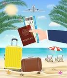 手举行护照对海滩的登舱牌旅行 图库摄影