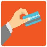 手举行支付的信用卡 向量例证