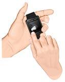 手举行聪明手表。姿态轻拍。 库存例证