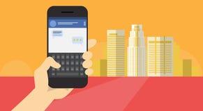 手举行细胞聪明的电话应用网上消息闲谈网络通信横幅 库存例证