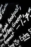 手书面白垩菜单板以词早餐promin为特色 图库摄影