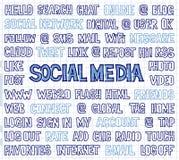 手书面社会媒介词、标记和标签在方格纸 免版税图库摄影