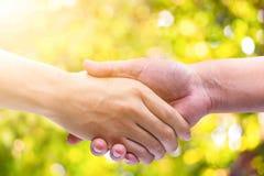 手人握手在绿色bokeh背景的 免版税库存图片
