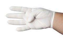 手佩带的橡胶手套 免版税图库摄影
