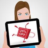 手倒立购物袋显示销售折扣二十五Percen 免版税库存照片