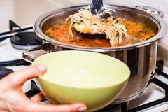 手倒罗宋汤或红色蔬菜汤在碗 免版税库存照片