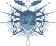 黑手党纹章学徽章有汤米枪的 库存图片