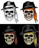 黑手党头骨头,匪徒头骨,手图画 向量例证