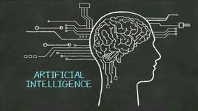 手写人头形状,被连接的cpu电路板 '人工智能的'概念在黑板 向量例证